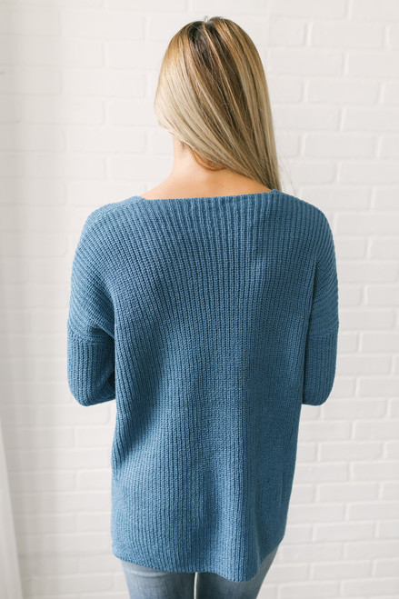 According To You V-Neck Sweater - Marine Blue