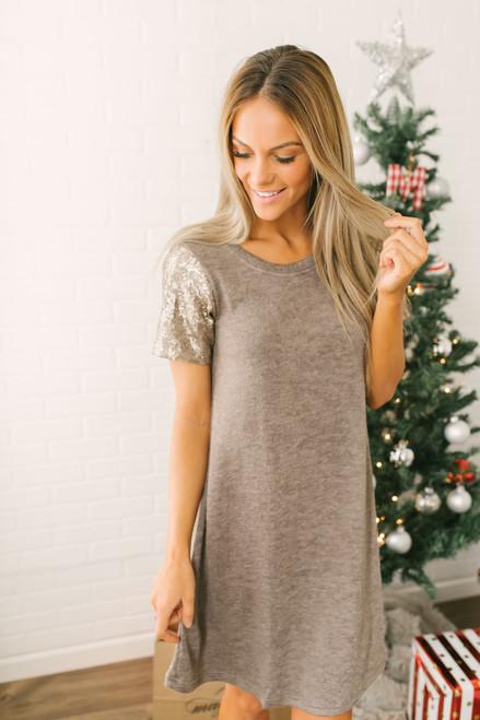 Holiday Cheer Sequin Sleeve Sweater Dress - Mocha
