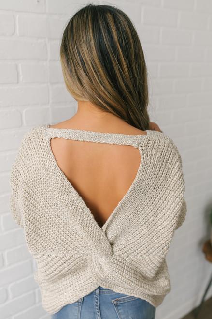Two Tone Open Knot Back Sweater - Beige
