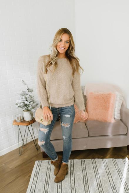 Anastasia Soft Boatneck Pom Sweater - Taupe - FINAL SALE