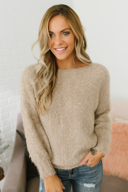 Anastasia Soft Boatneck Pom Sweater - Taupe