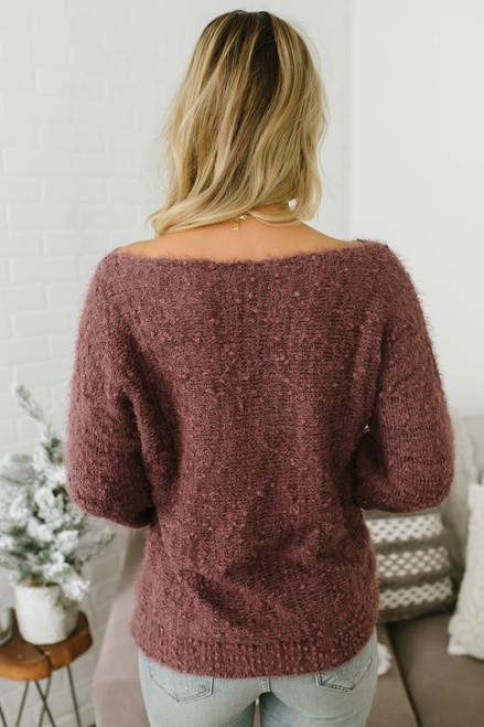 Anastasia Soft Boatneck Pom Sweater - Berry Wine - FINAL SALE