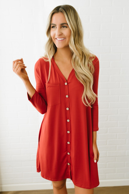 V-Neck Button Down Pocket Dress -  Red Orange