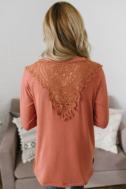 Passionate Heart Crochet Back Top - Dusty Orange