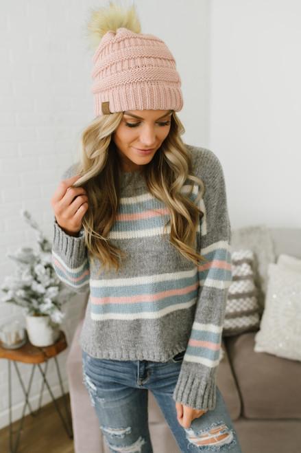 Sadie & Sage Candy Striped Sweater - Grey Multi - FINAL SALE