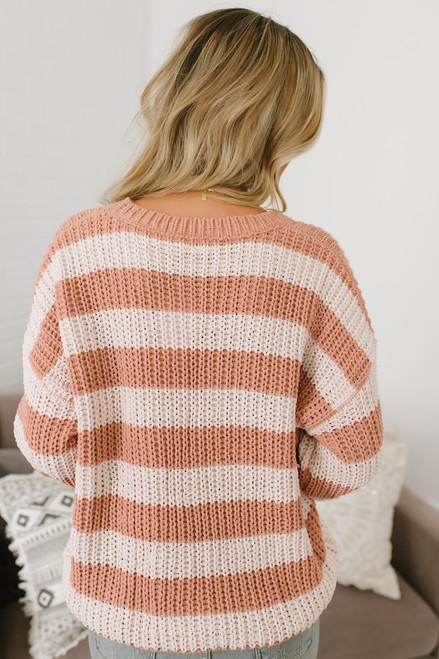 Sadie & Sage Chenille Striped Sweater - Peach/Cream