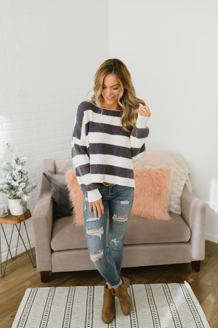 Daybreak Stonewashed Striped Sweater - Navy/Ivory