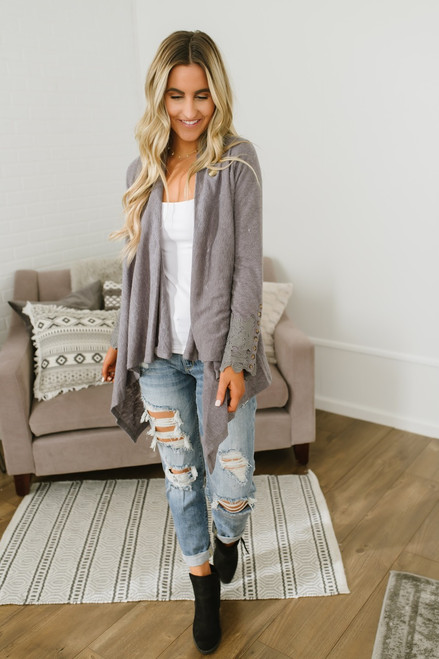 Asymmetrical Draped Crochet Sleeve Cardigan - Grey - FINAL SALE