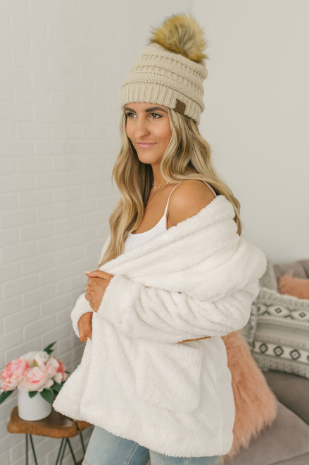 Cozy in the City Elbow Patch Cardigan - Ivory