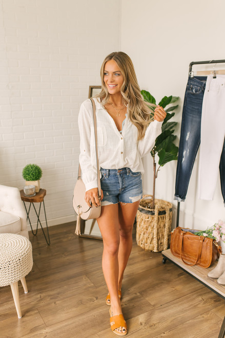Button Down Linen Boyfriend Knot Top - White