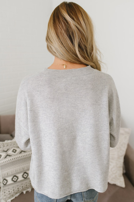 Just Love Embroidered Pullover - Heather Grey - FINAL SALE