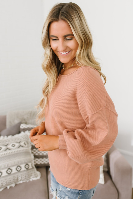 Loire Valley Ribbed Boatneck Sweater - Dusty Peach