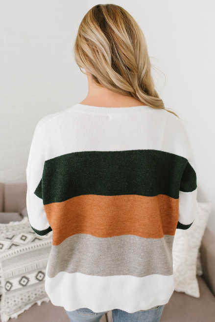 Woodland's Edge Colorblock Sweater - Ivory Multi (ESTIMATED END OF SEPTEMBER)
