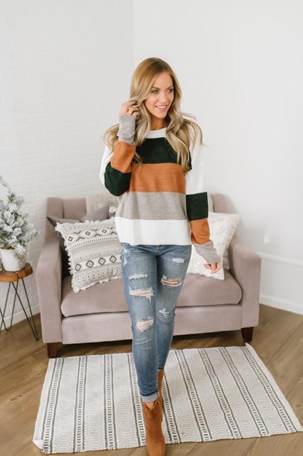 Woodland's Edge Green Colorblock Sweater