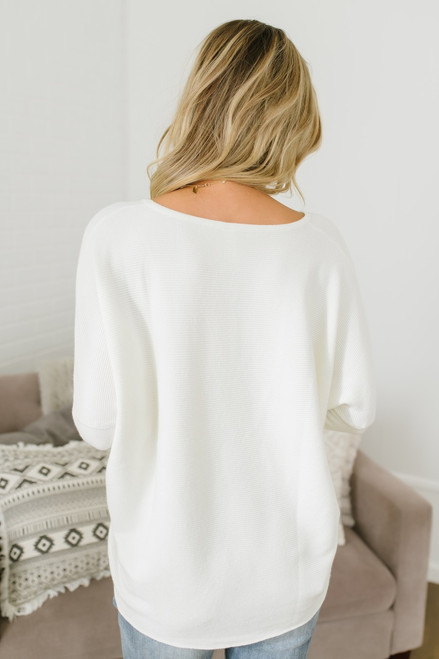 Ice Rink Ribbed Dolman Sweater - Ivory