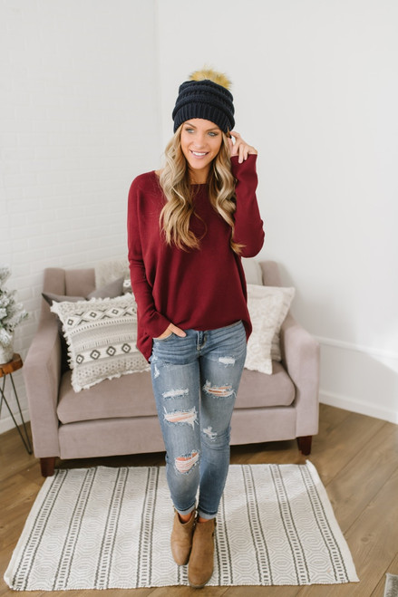 Ice Rink Ribbed Dolman Sweater - Burgundy