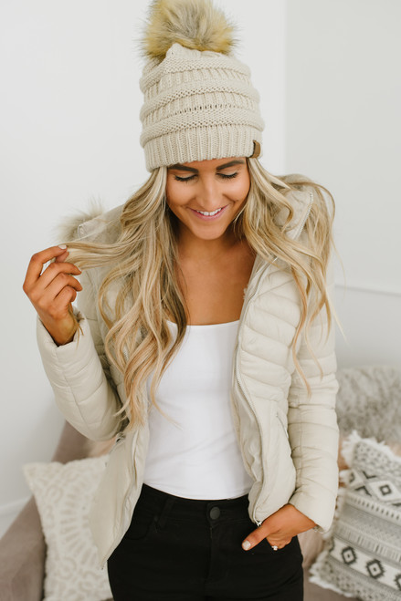 Faux Fur Lined Hooded Puffer Coat - Light Taupe