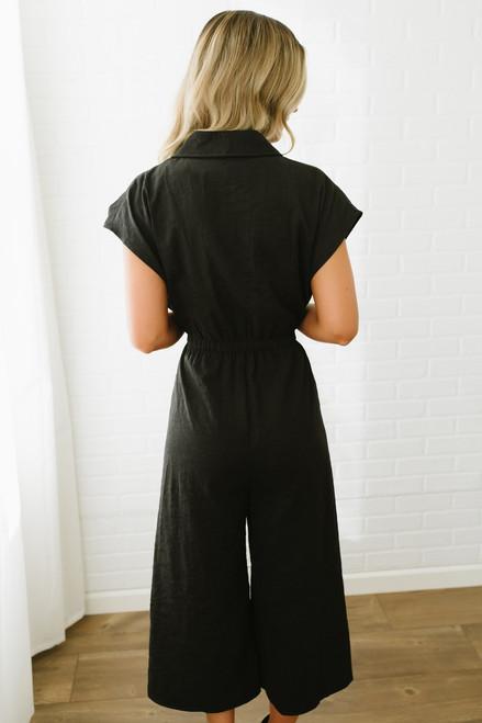 Faux Suede Tie Waist Cropped Jumpsuit - Black - FINAL SALE