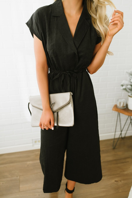 Faux Suede Tie Waist Cropped Jumpsuit - Black