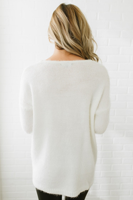 Snowflake Wishes Fuzzy Boatneck Sweater - Ivory