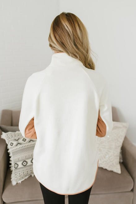 Asymmetrical Quilted Fleece Pullover - Cream/Buttercotch - FINAL SALE