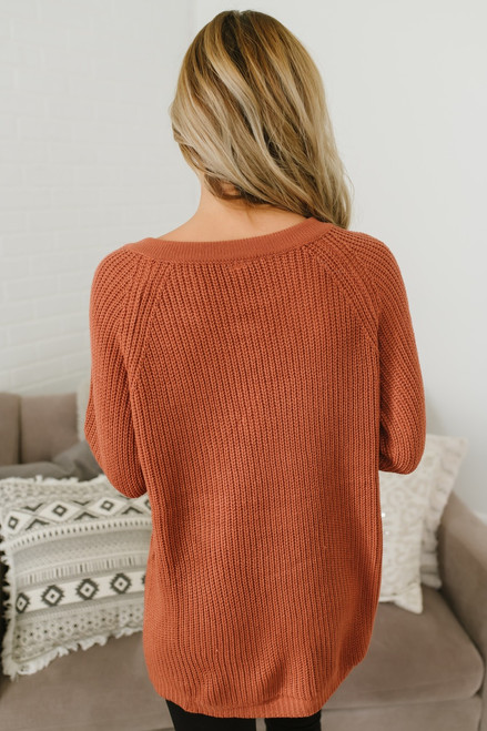 Three Wishes Lace Up Sweater - Rust