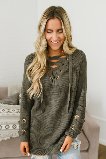 Three Wishes Lace Up Sweater - Stone Olive