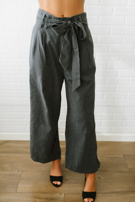 Sadie & Sage Faux Suede Wide Leg Pants - Charcoal