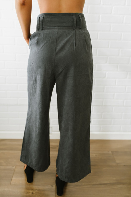 Sadie & Sage Faux Suede Wide Leg Pants - Charcoal -  FINAL SALE