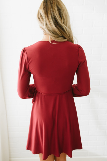 Sadie & Sage V-Neck Wrap Dress - Burgundy