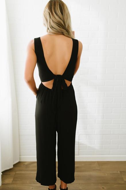 V-Neck Open Back Cropped Jumpsuit - Black