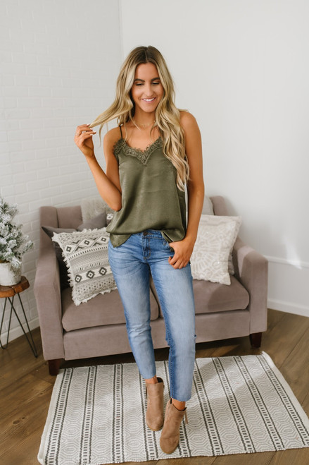 At First Sight V-Neck Lace Tank - Olive - FINAL SALE