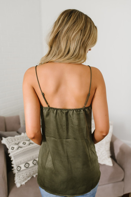 At First Sight V-Neck Lace Tank - Olive