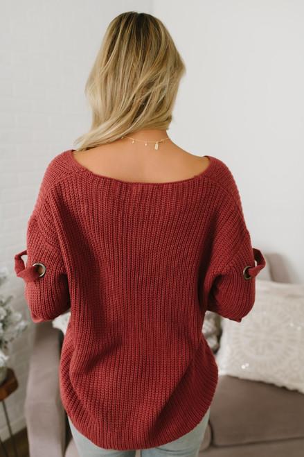 V-Neck Eyelet Detail Sweater - Marsala - FINAL SALE