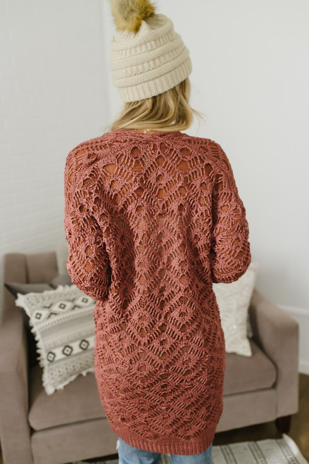 Enchanted Forest Crochet Pocket Cardigan - Rust - FINAL SALE