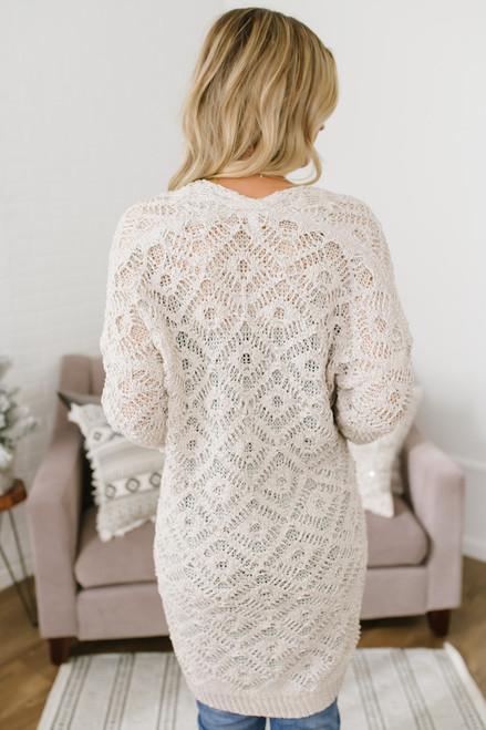 Enchanted Forest Crochet Pocket Cardigan - Ivory