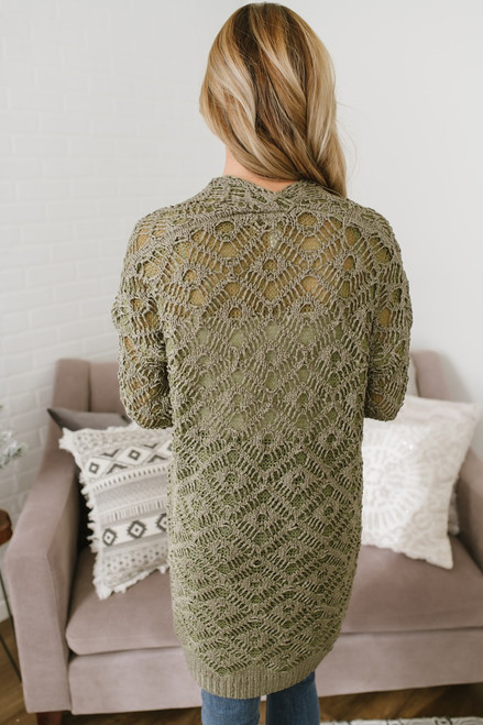Enchanted Forest Crochet Pocket Cardigan - Olive