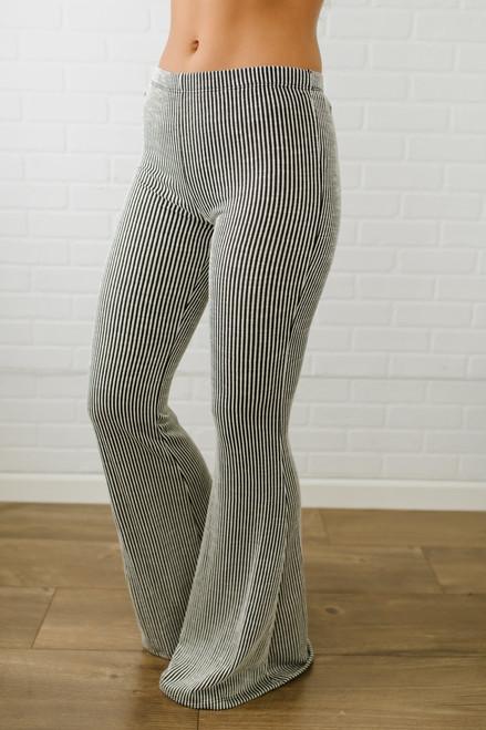 Ithaca Striped Flare Pants - White/Black - FINAL SALE