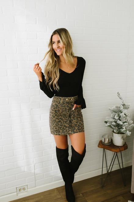 Dionne Zipper Detail Leopard Skirt - Mocha/Black - FINAL SALE