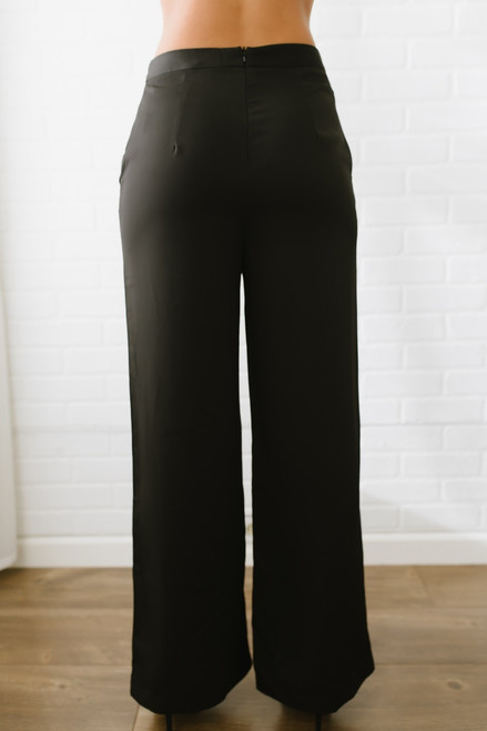 Cabaret High Waist Satin Pants - Black