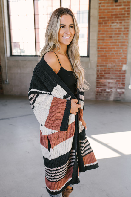 Rising Sun Striped Chenille Cardigan - Black Multi - FINAL SALE