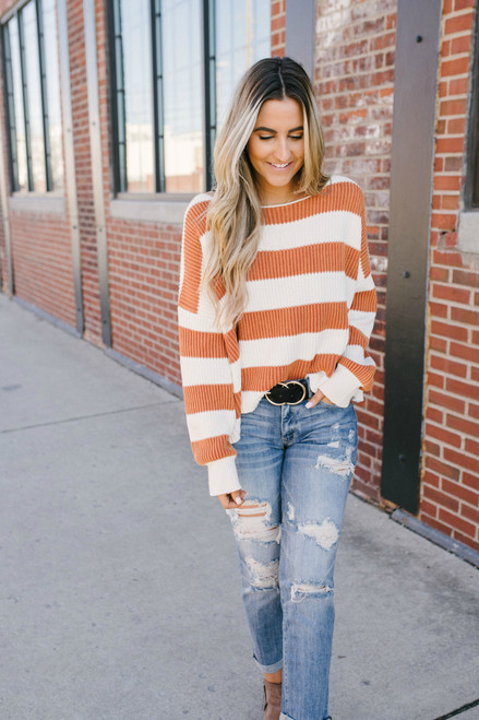 Daybreak Stonewashed Striped Sweater - Brick/Ivory