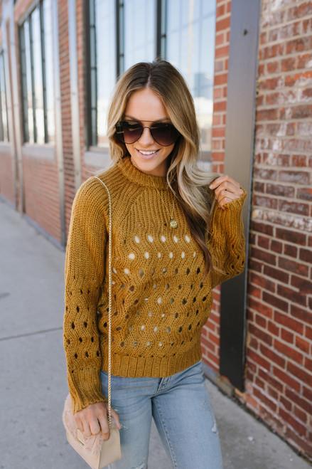 Raise a Glass Open Knit Sweater - Gold -  FINAL SALE