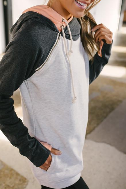 French Terry Contrast Double Hooded Sweatshirt - Grey/Charcoal/Orange