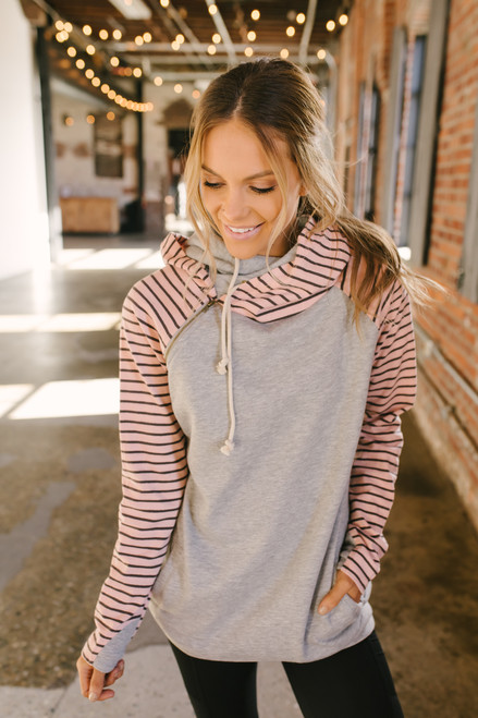 French Terry Contrast Striped Double Hooded Sweatshirt - Pink/Grey