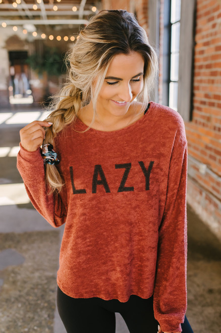 Sadie & Sage Lazy Brushed Terry Pullover - Rust - FINAL SALE