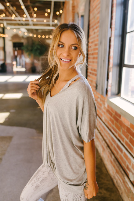Layne V-Neck Twisted Hem Tee - Heather Grey