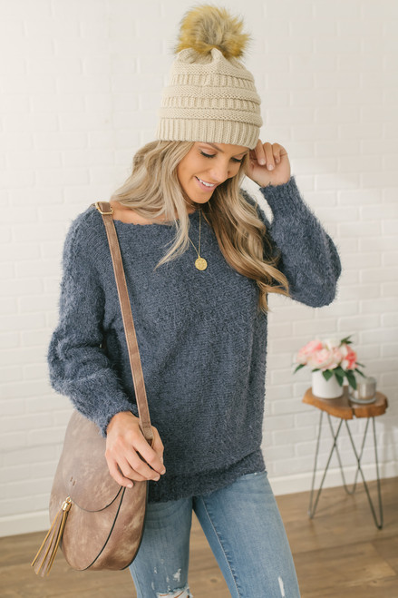 Anastasia Soft Boatneck Pom Sweater - Navy