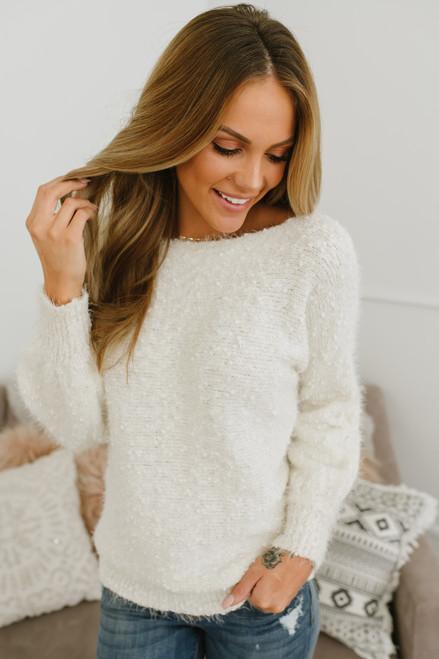Anastasia Soft Boatneck Pom Sweater - Ivory - FINAL SALE