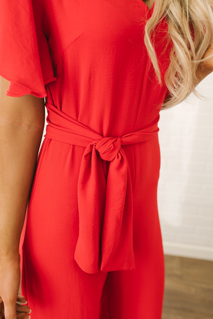 Elegant Short Sleeve Tie Detail Jumpsuit - Red - FINAL SALE